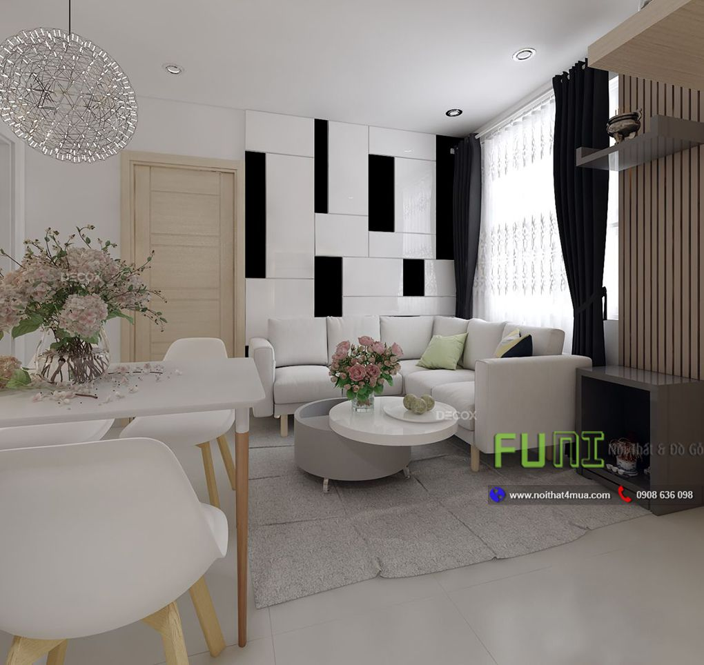 Thiết kế nội thất phòng khách căn hộ chung cư 45m2