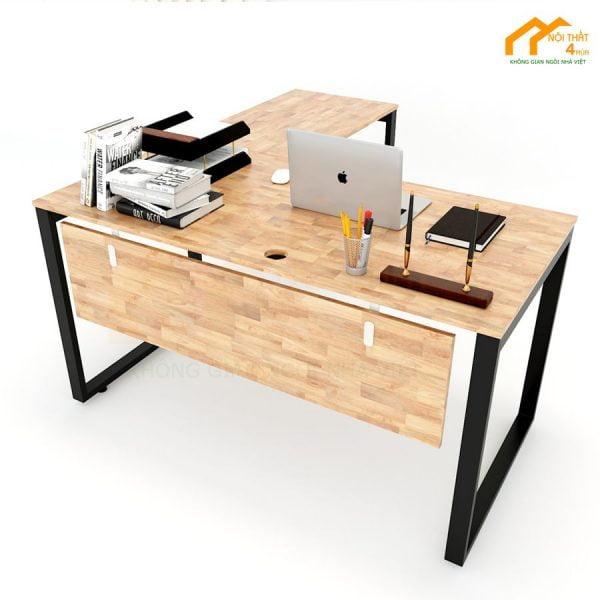 Bàn làm việc chữ L 140x140cm hệ rectang chân sắt có yếm gỗ