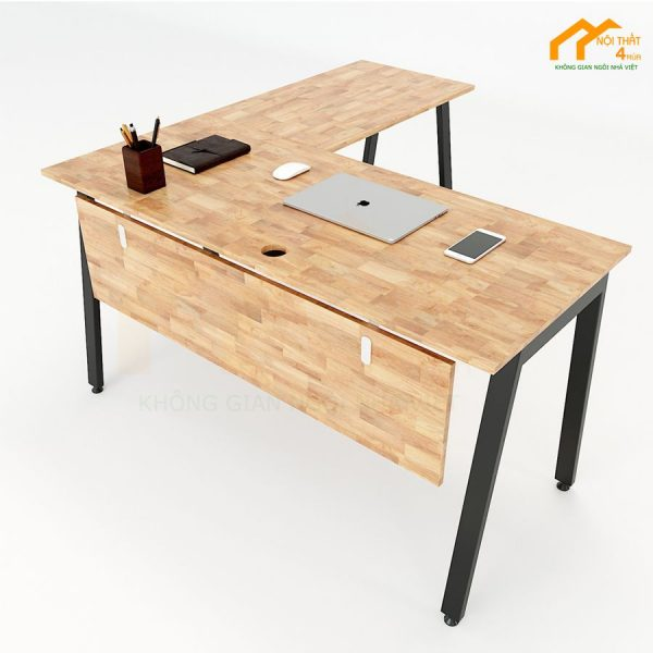 Bàn chữ L hệ Aton Concept 140x140cm gỗ cao su