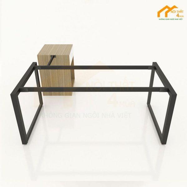 Khung sắt bàn làm việc chân gác tủ hình chữ L đẹp