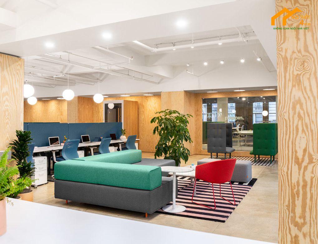 Mẫu khu tiếp khách văn phòng công ty Poppin HQ