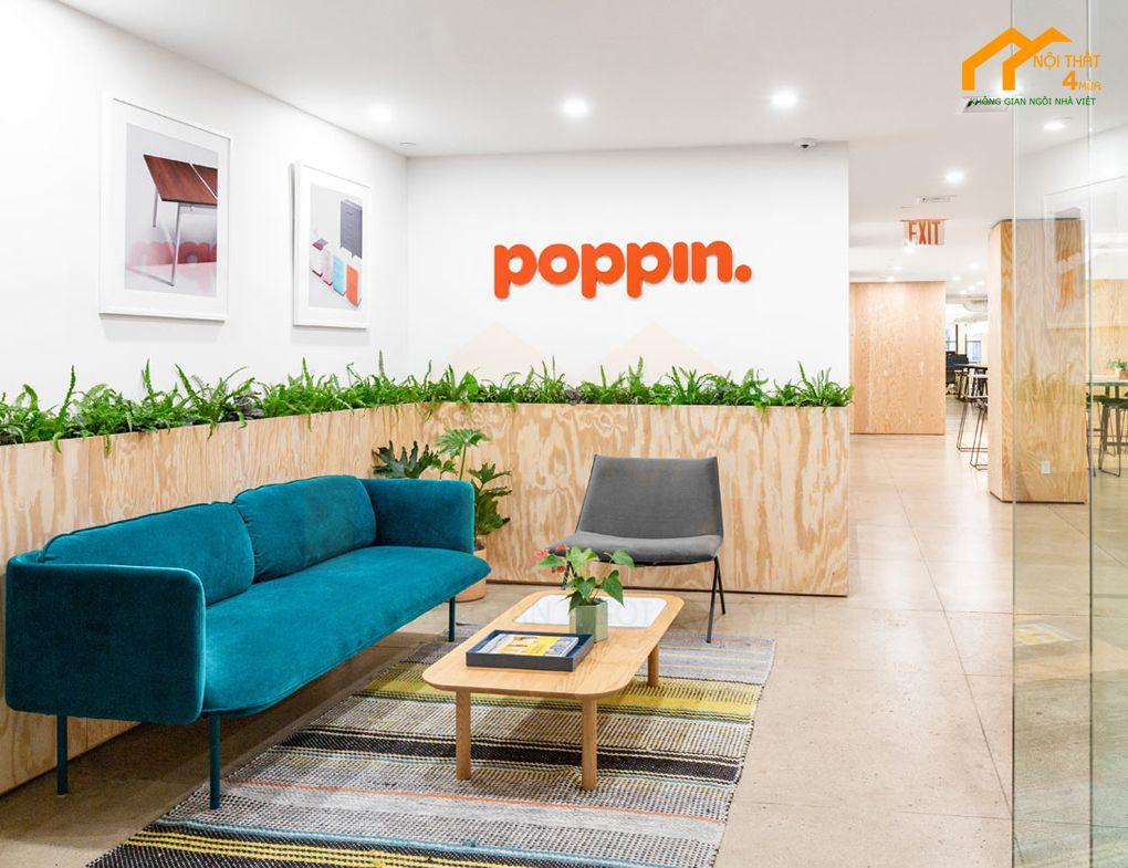 Thiết kế khu vực lễ tân công ty Poppin HQ