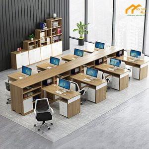 cụm bàn nhân viên 8 chỗ ngồi