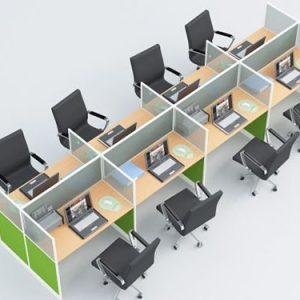 Cụm bàn làm việc 8 người thiết kế đơn giản đẹp